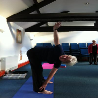 Rishi's posture being practised in a yoga class in Cardiff