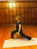 The chair takes the strain, allowing the student to concentrate on extending the back leg backwards